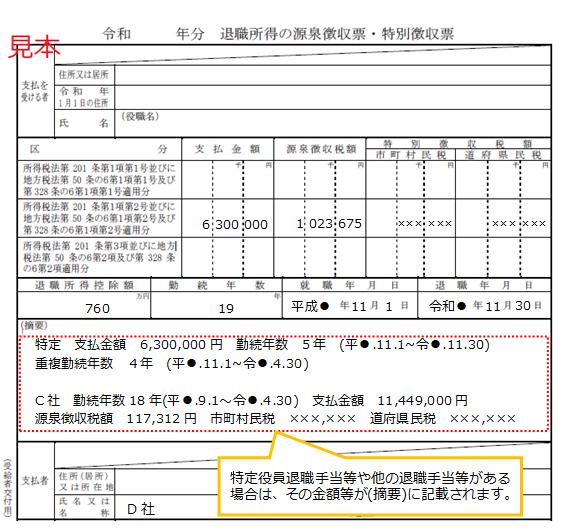 源泉 の 票 徴収 所得 退職